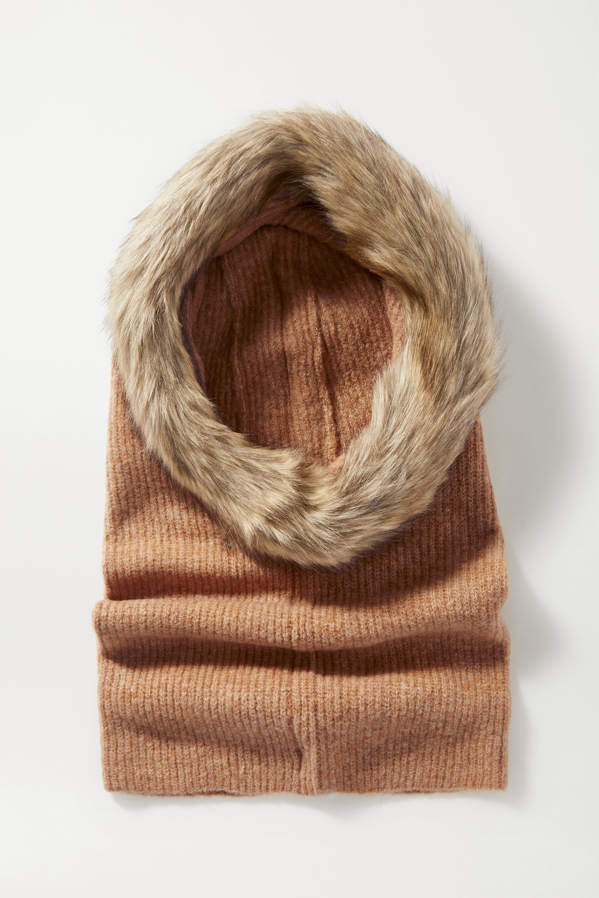 Eugenia Kim Paulina faux fur-trimmed ribbed-knit snood