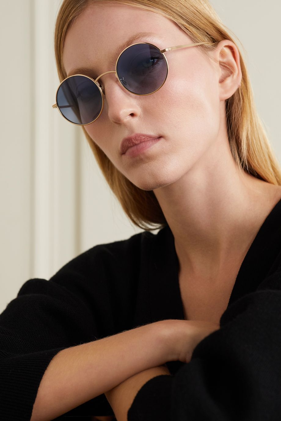 The Row + Oliver Peoples After Midnight round-frame gold-tone sunglasses