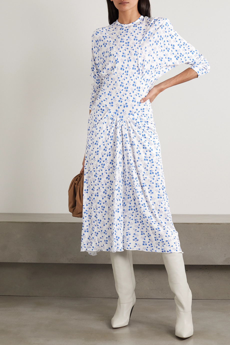 Isabel Marant Telky 花卉印花珠地布中长连衣裙