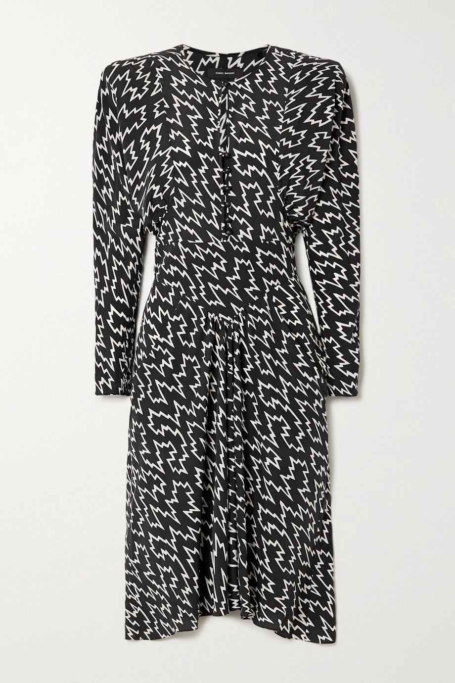 Isabel Marant Ibelky gathered printed stretch-silk crepe de chine midi dress
