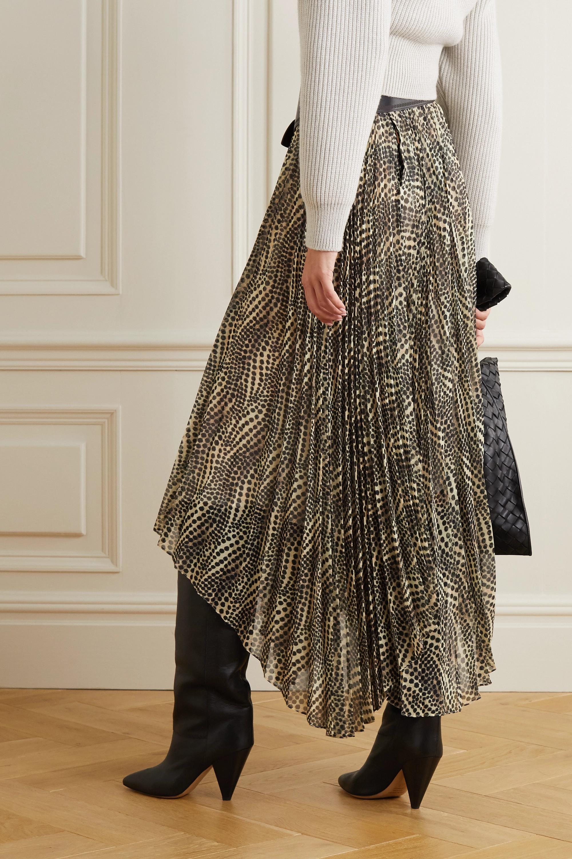 Isabel Marant Alena asymmetric pleated printed chiffon midi skirt