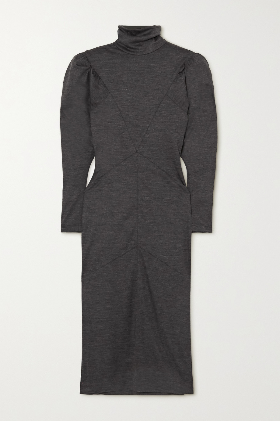 이자벨 마랑 Isabel Marant Genia paneled melange wool turtleneck midi dress,Anthracite