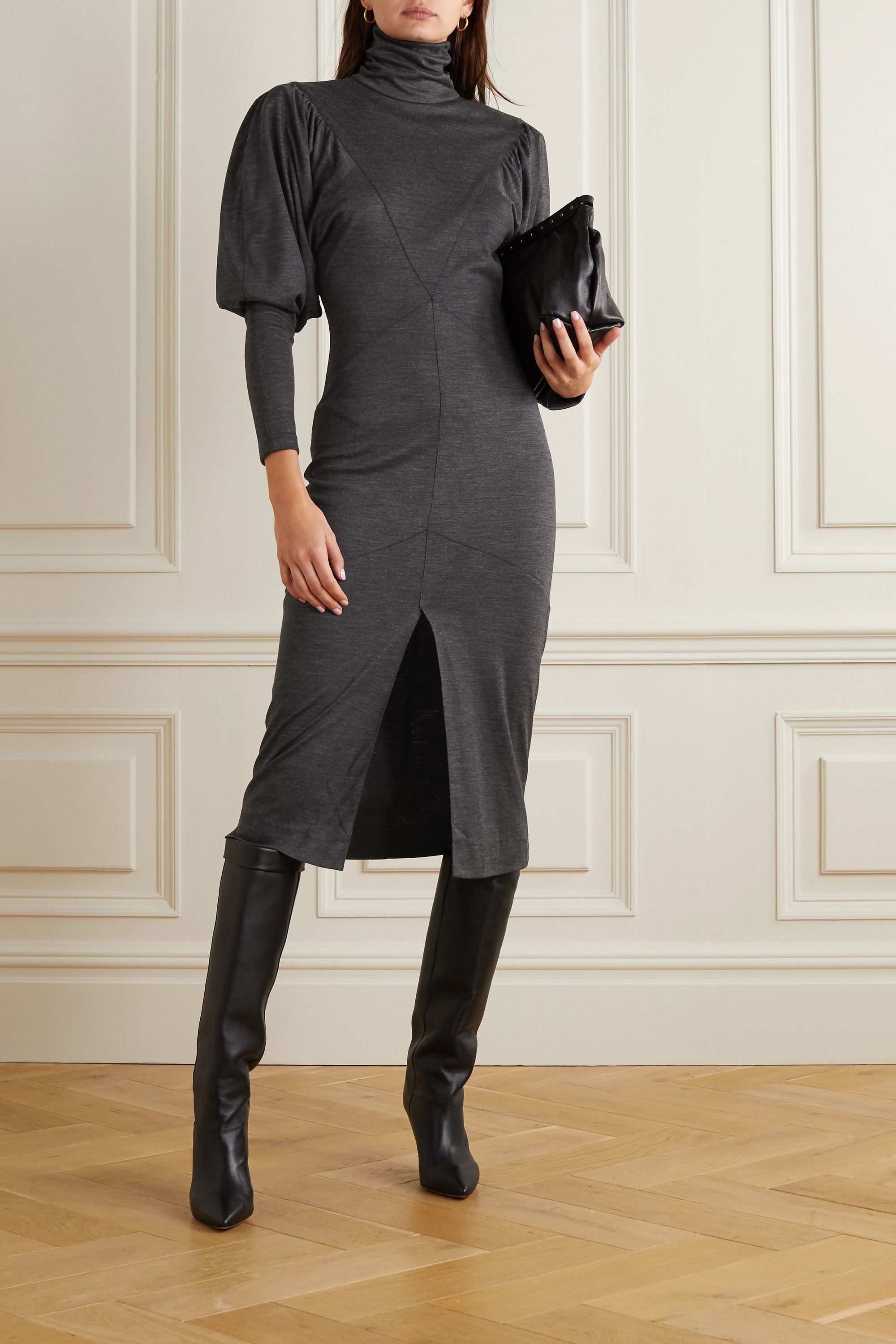 Isabel Marant Genia paneled mélange wool turtleneck midi dress