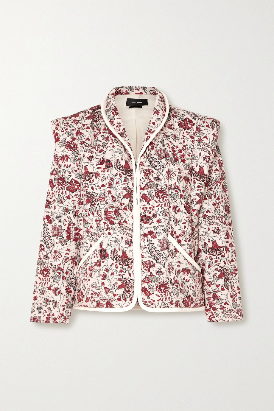 Isabel Marant Anissaya convertible faux leather-trimmed quilted floral-print cotton jacket