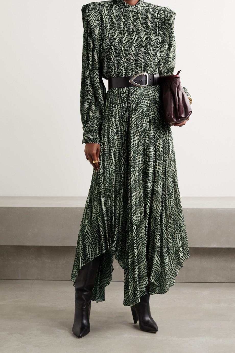 Isabel Marant Anais pleated leopard-print crepe de chine blouse