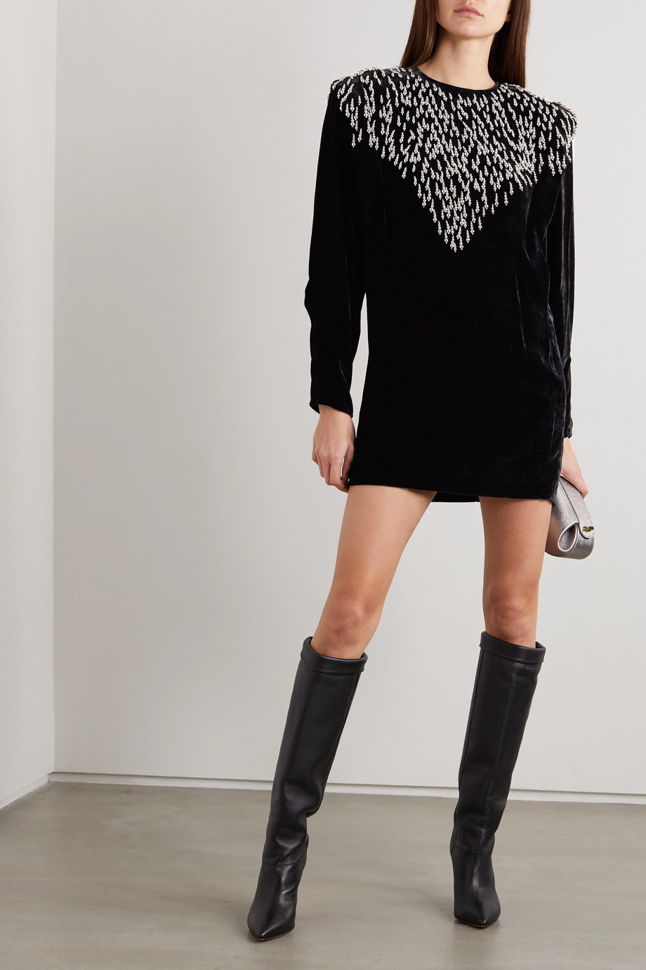 Isabel Marant Gabasi bead-embellished velvet  mini dress