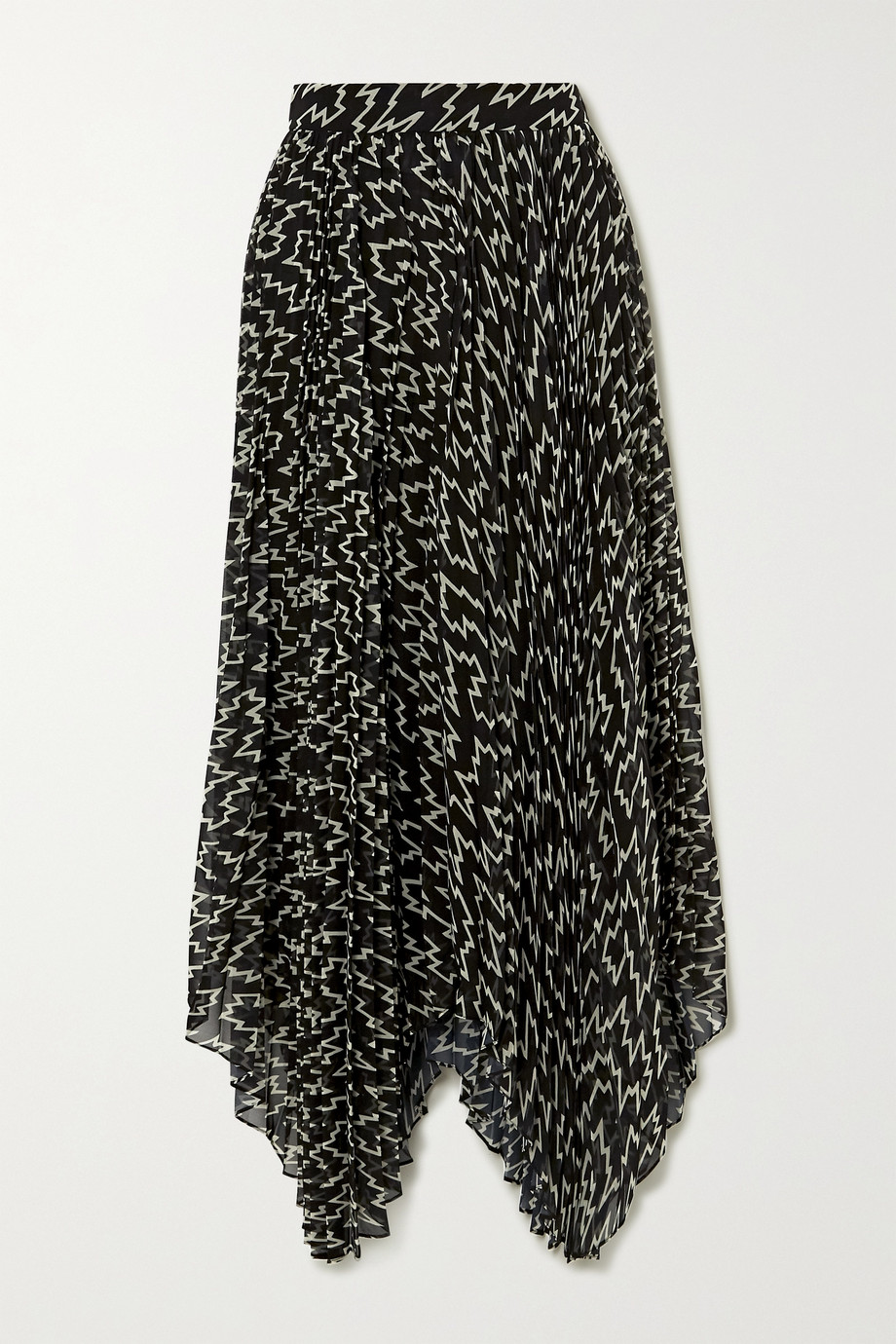 Isabel Marant Alena asymmetric pleated printed chiffon midi skirt