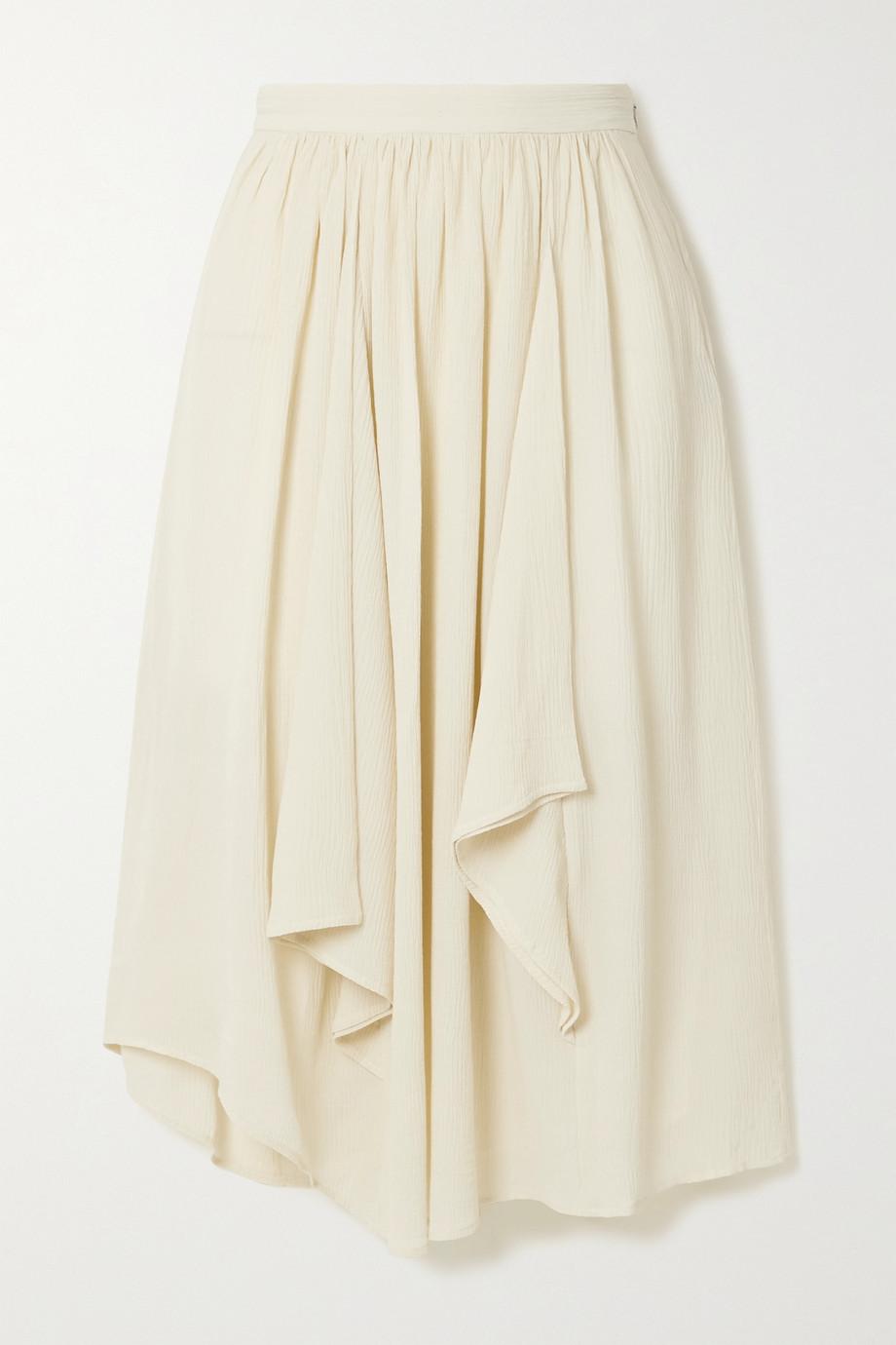 Isabel Marant Darne draped cotton and silk-blend crepon midi skirt