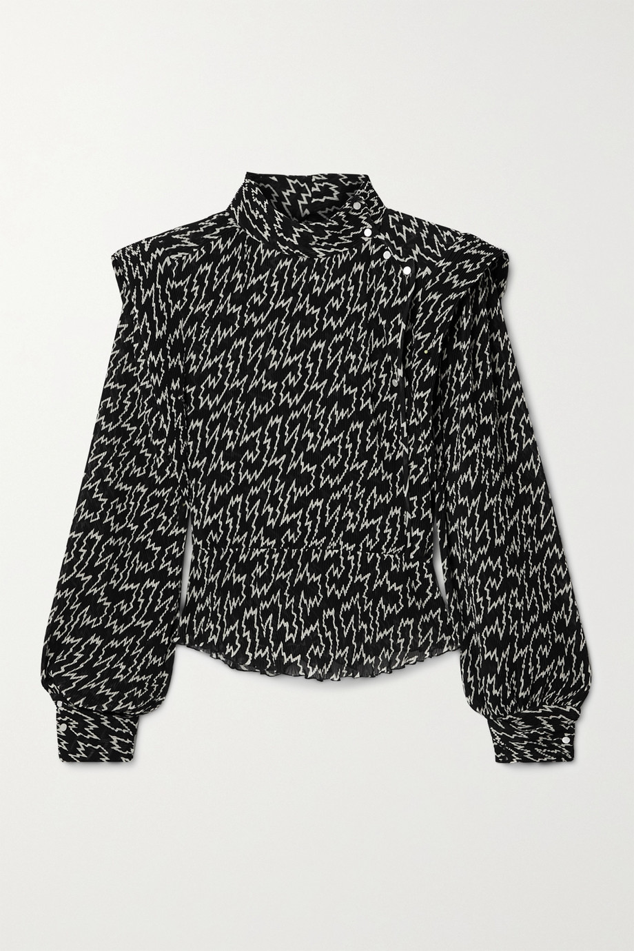 Isabel Marant Anais pleated printed crepe de chine blouse