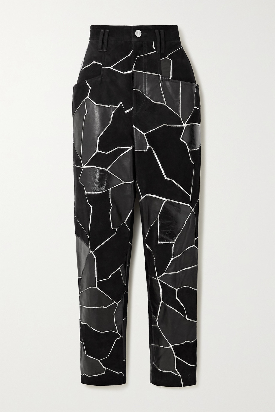 Isabel Marant Maeko patchwork metallic-trimmed suede and leather tapered pants