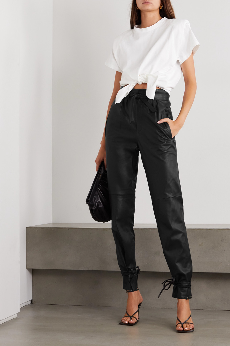 Isabel Marant Duardo tie-detailed leather tapered pants