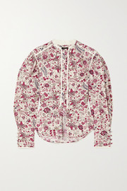 Isabel Marant Cleosi silk-trimmed floral-print cotton-poplin blouse