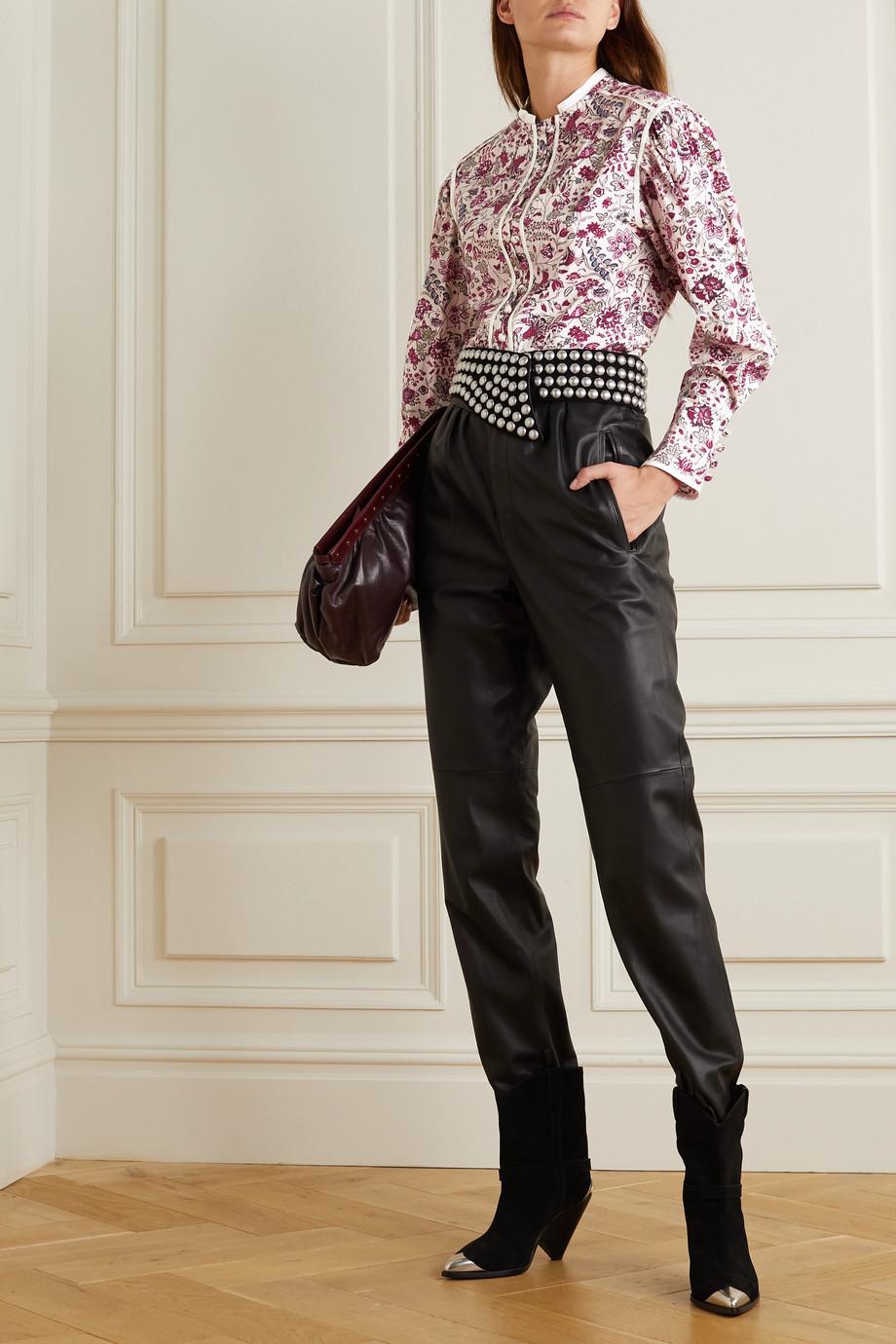 Isabel Marant Cleosi silk-trimmed floral-print cotton-poplin blouse