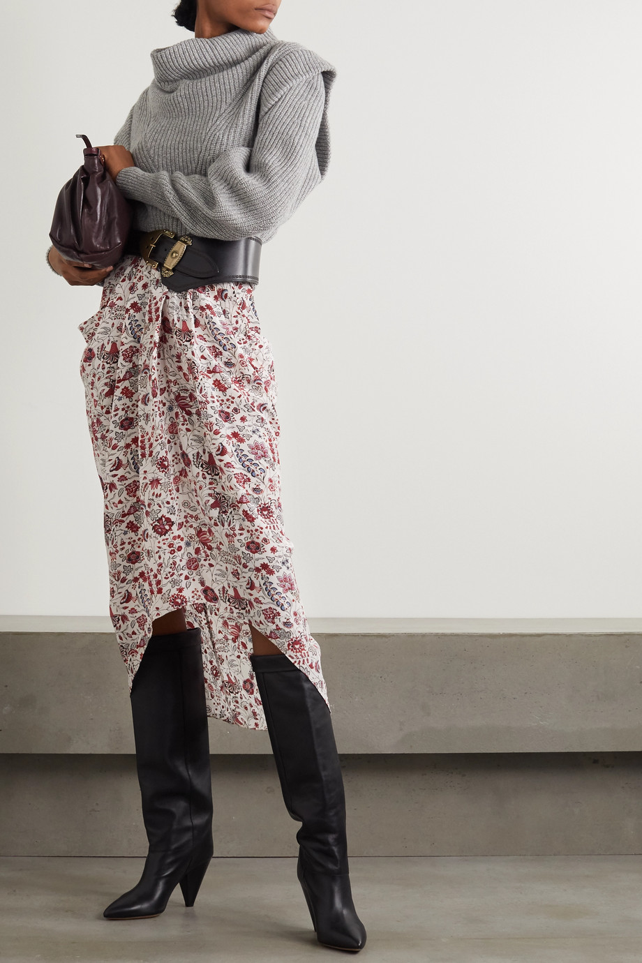 Isabel Marant Ginkinali 垂坠花卉印花真丝双绉中长半身裙