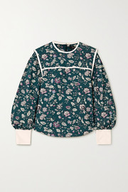 Isabel Marant Casey silk-trimmed floral-print cotton blouse
