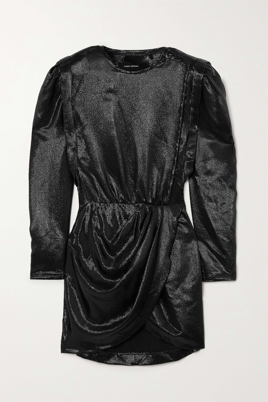 Isabel Marant Bagota draped metallic silk-blend mini dress