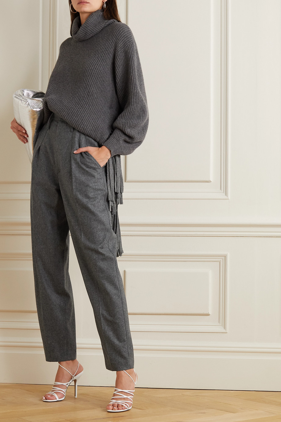 Isabel Marant Racomisl pleated mélange wool tapered pants