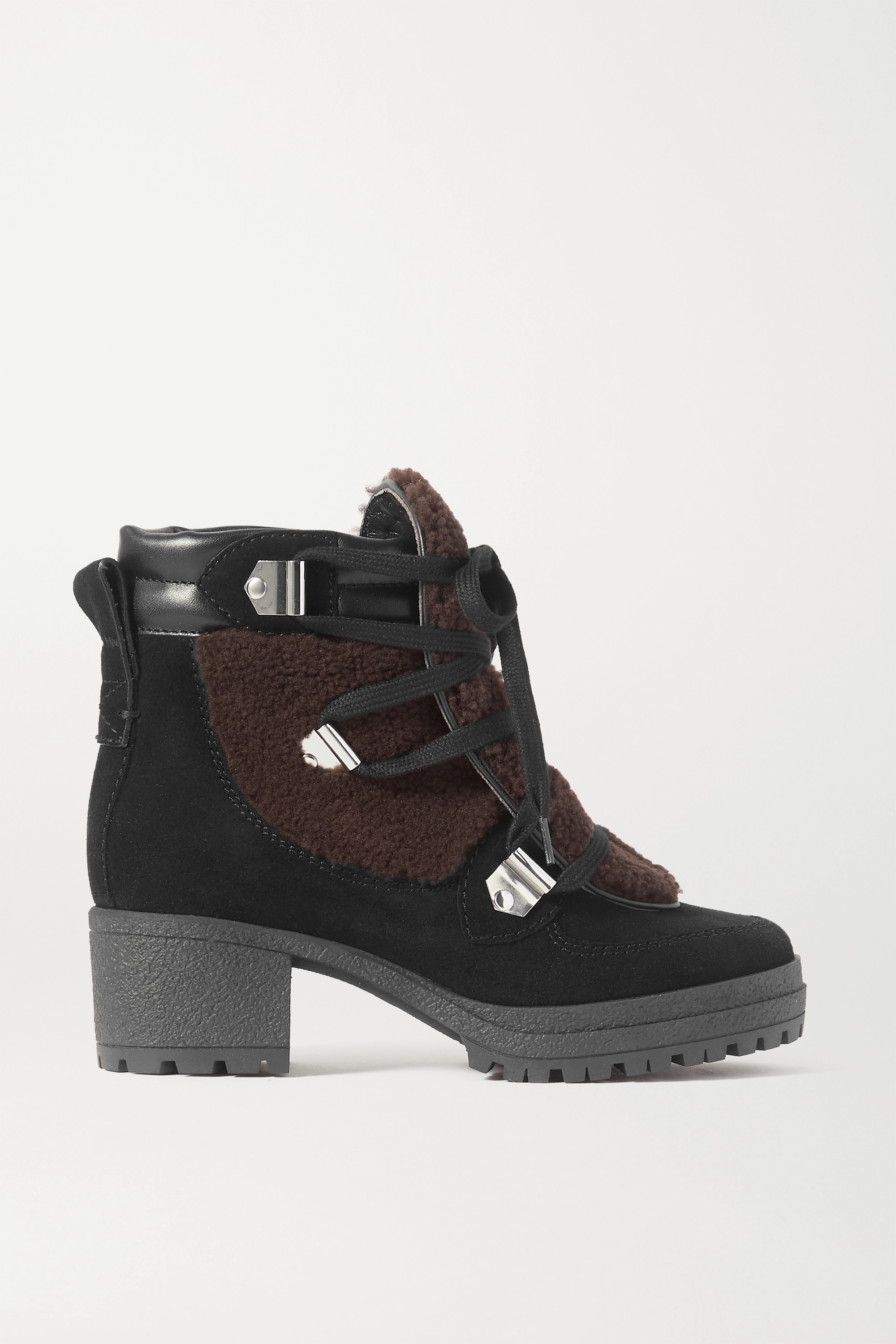 See By Chloé Leather-trimmed suede and shearling ankle boots