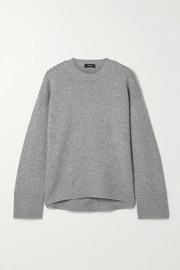 Theory Karenia whipstitched mélange cashmere sweater