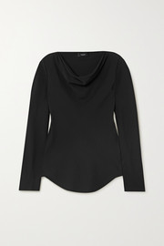 Theory Draped silk-crepe top