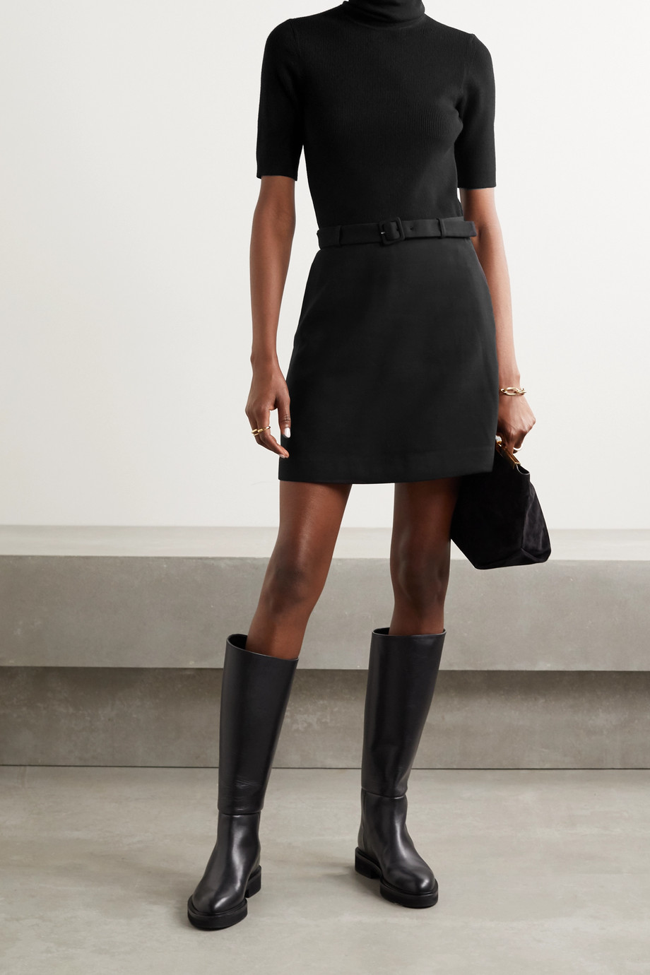 Theory Belted ribbed merino wool-blend and twill turtleneck mini dress