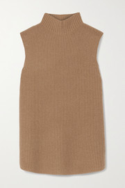 Theory Ribbed cashmere turtleneck top
