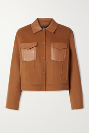Theory Leather-trimmed wool and cashmere-blend jacket