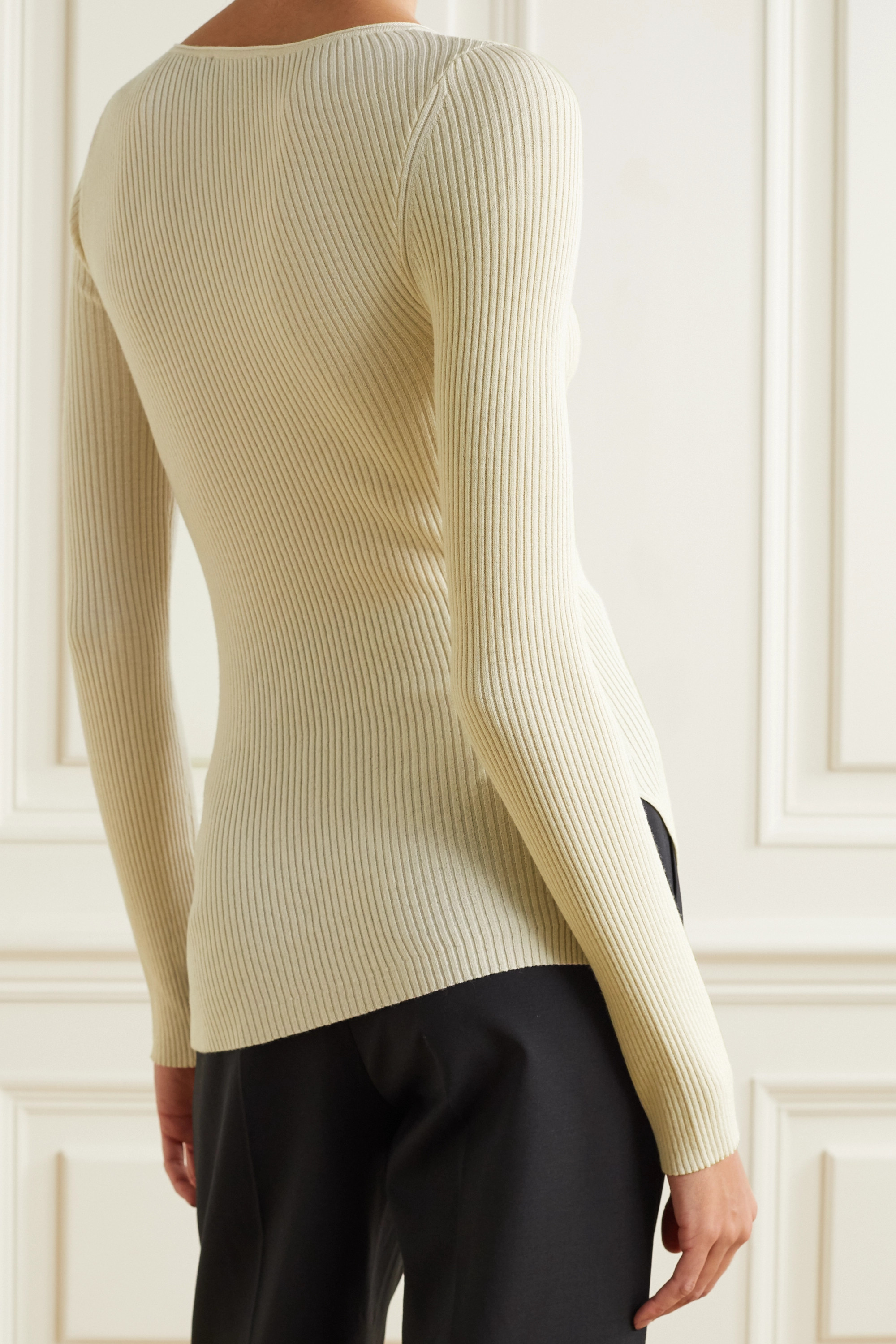 Theory Asymmetric ribbed wool-blend sweater