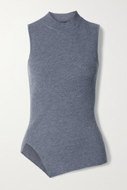 Theory Asymmetric ribbed wool-blend turtleneck top