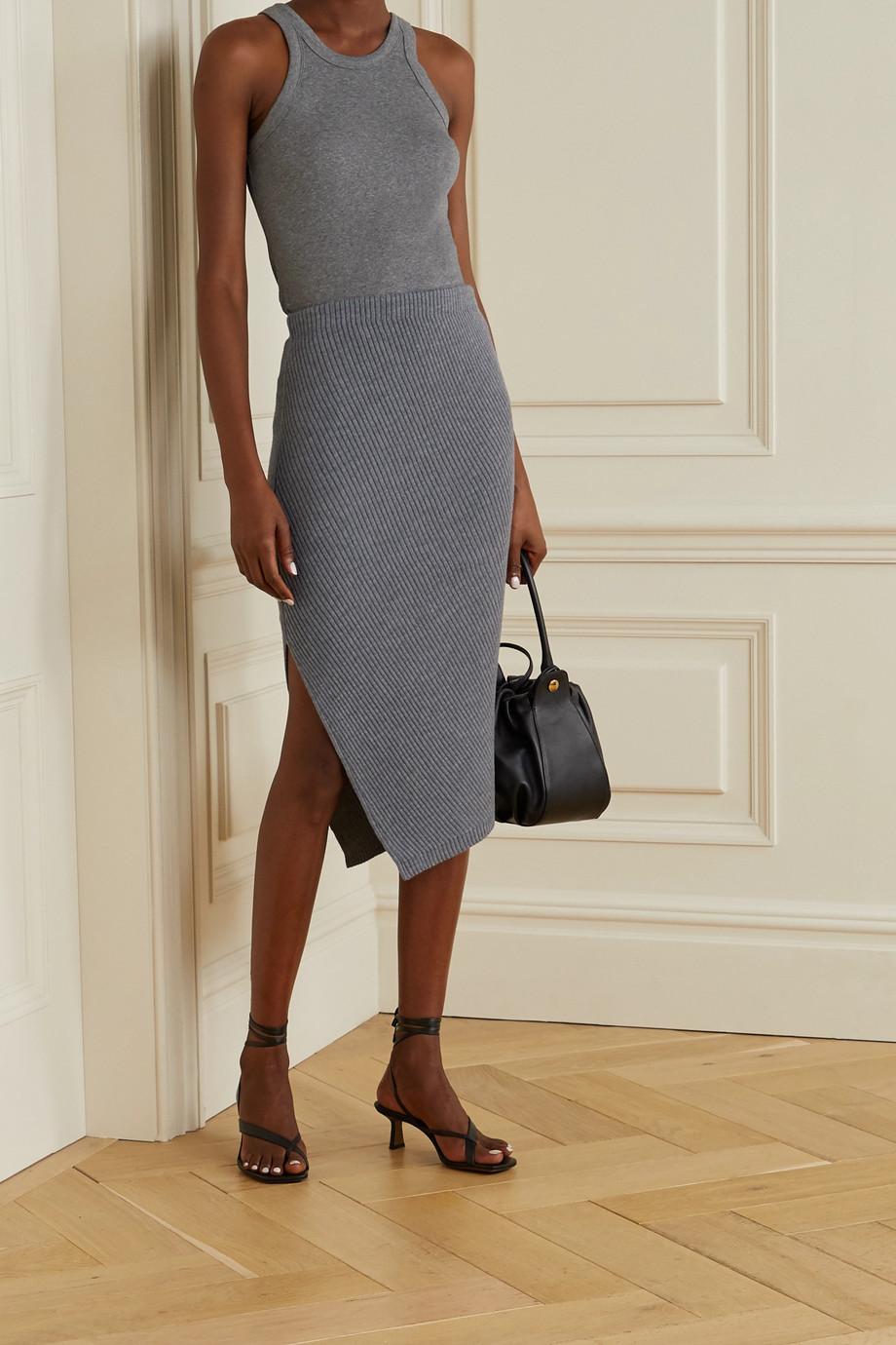 Theory Asymmetric ribbed wool-blend skirt