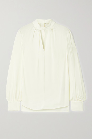 Theory - Cutout Silk Crepe De Chine Blouse - Ivory