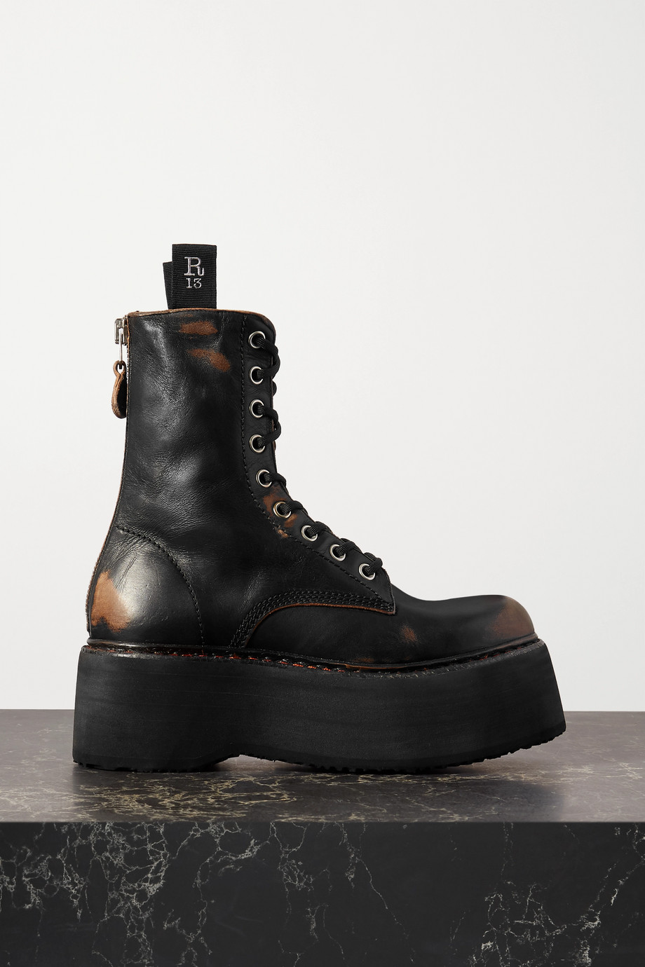 R13 Distressed leather platform ankle boots