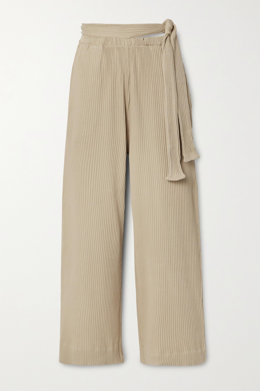 Baserange Lhasa 罗纹有机纯棉平纹布阔腿裤