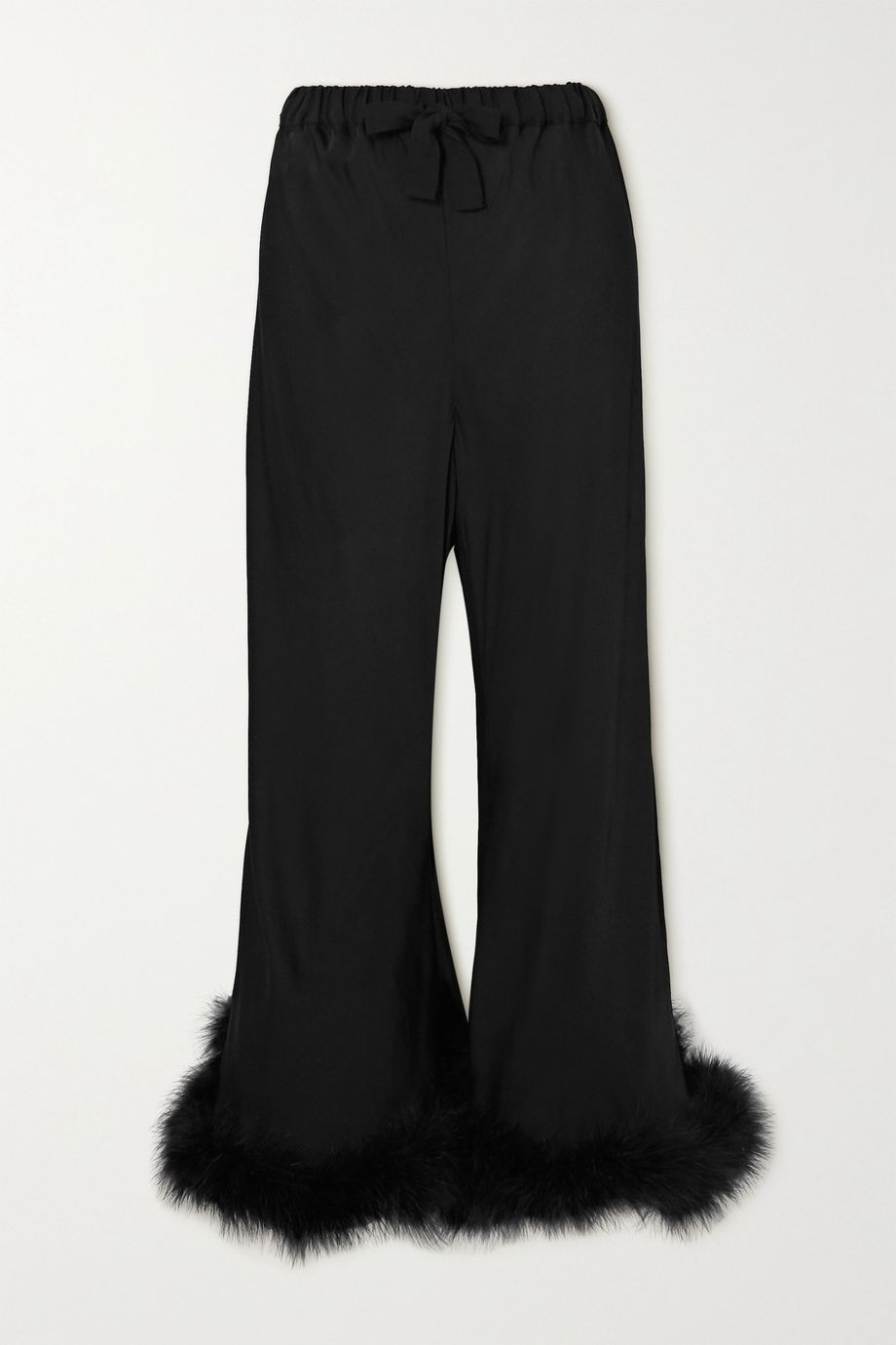 Sleeper Boudoir feather-trimmed satin pants