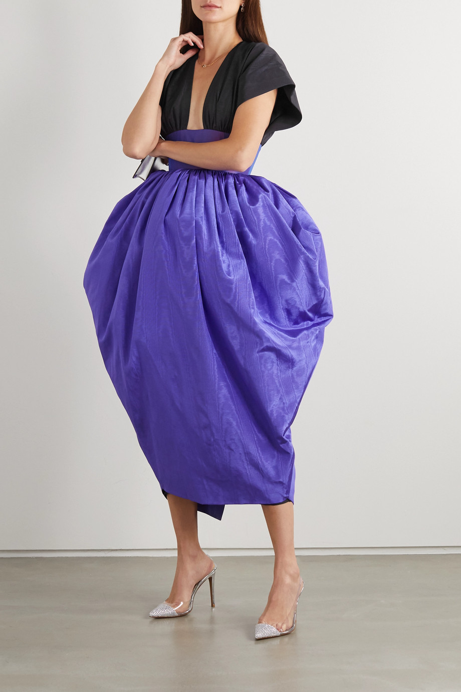 Christopher John Rogers Color-block moire and taffeta gown