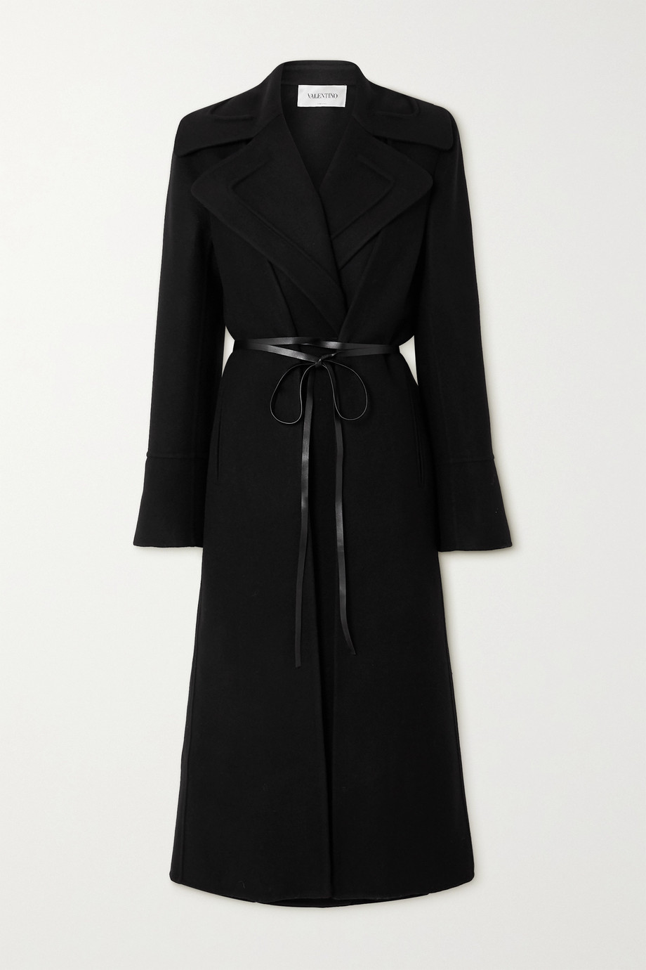 Valentino Belted double-breasted wool and silk-crepe de chine coat