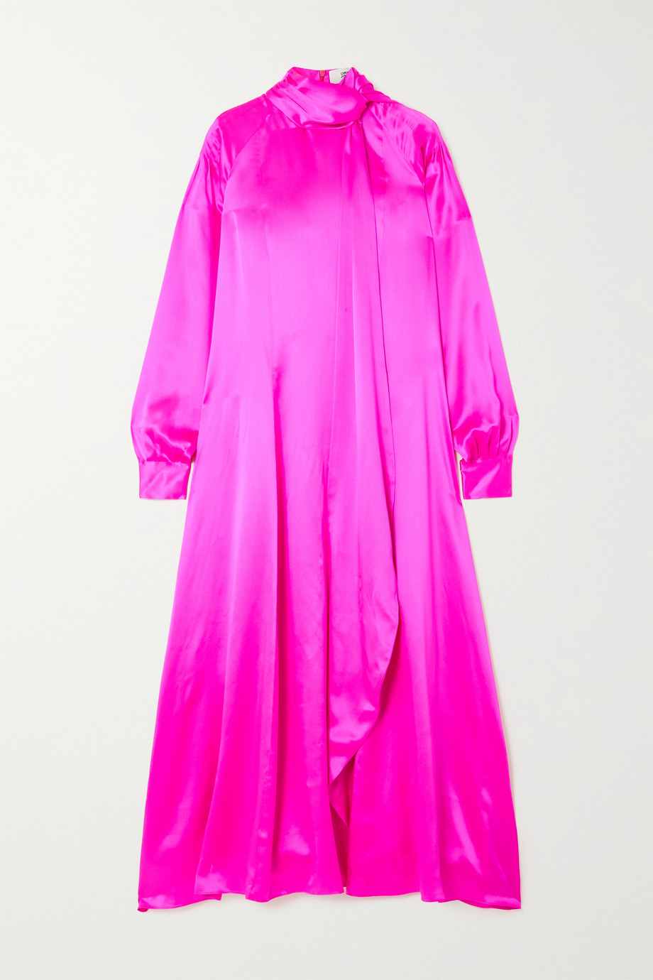 Christopher John Rogers Tie-detailed pintucked neon silk-charmeuse dress