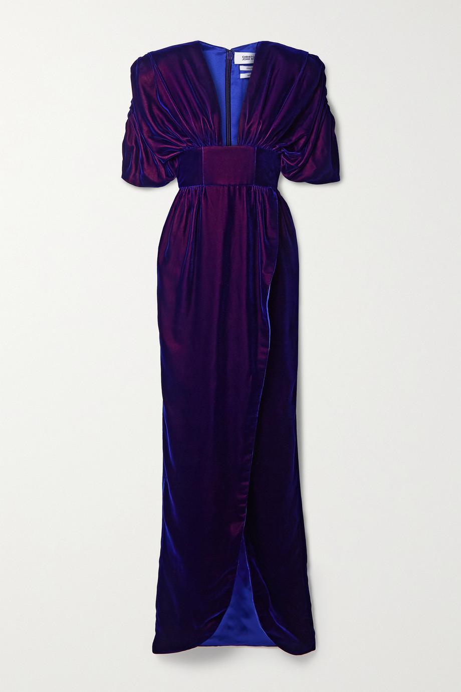 Christopher John Rogers Gathered iridescent velvet gown