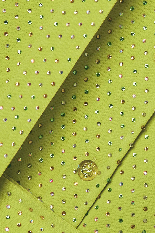 Christopher John Rogers Midi-Hemdblusenkleid aus Crêpe mit Kristallen und Bindegürtel