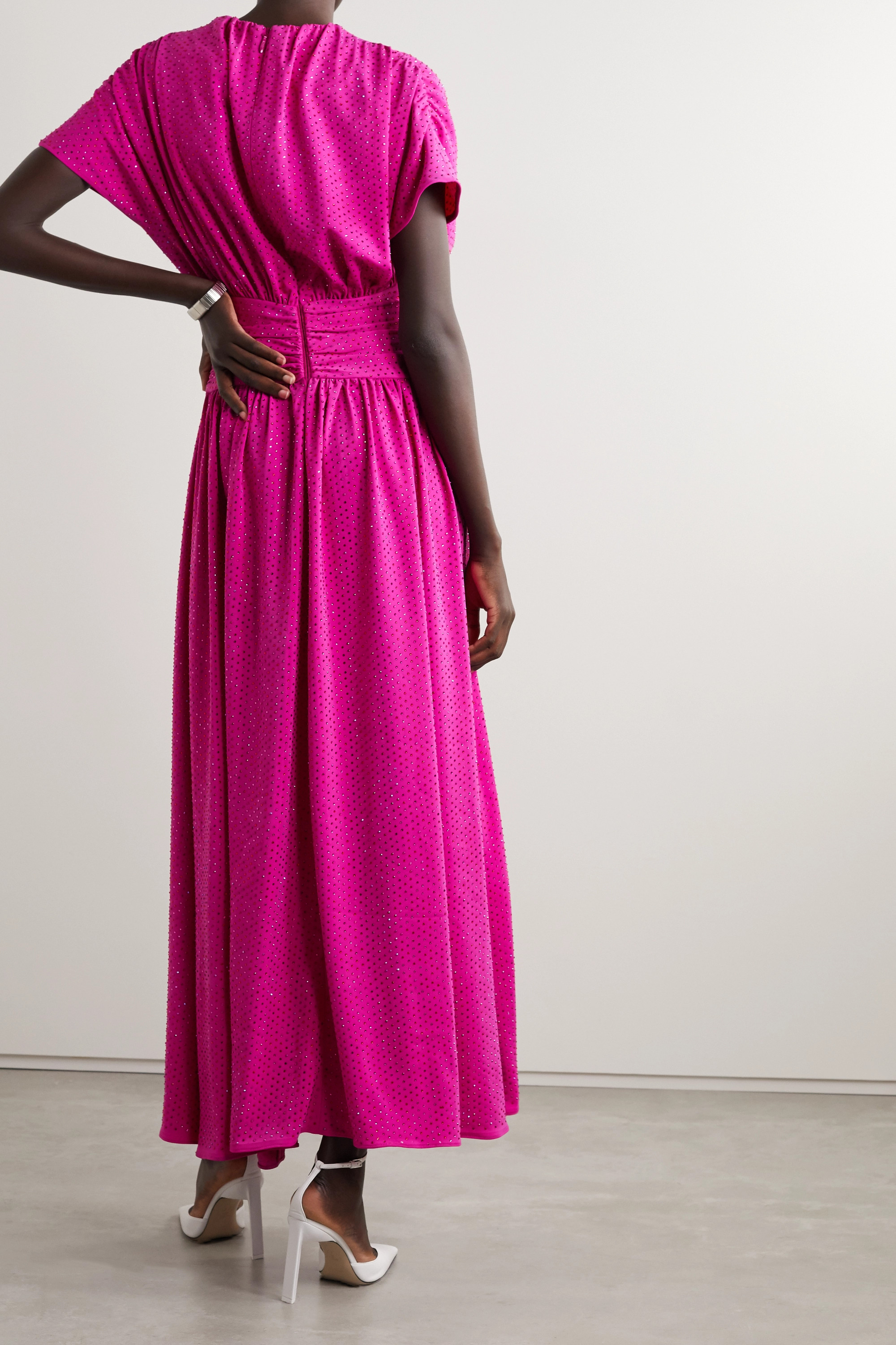 Christopher John Rogers Cutout tie-front crystal-embellished stretch-crepe gown