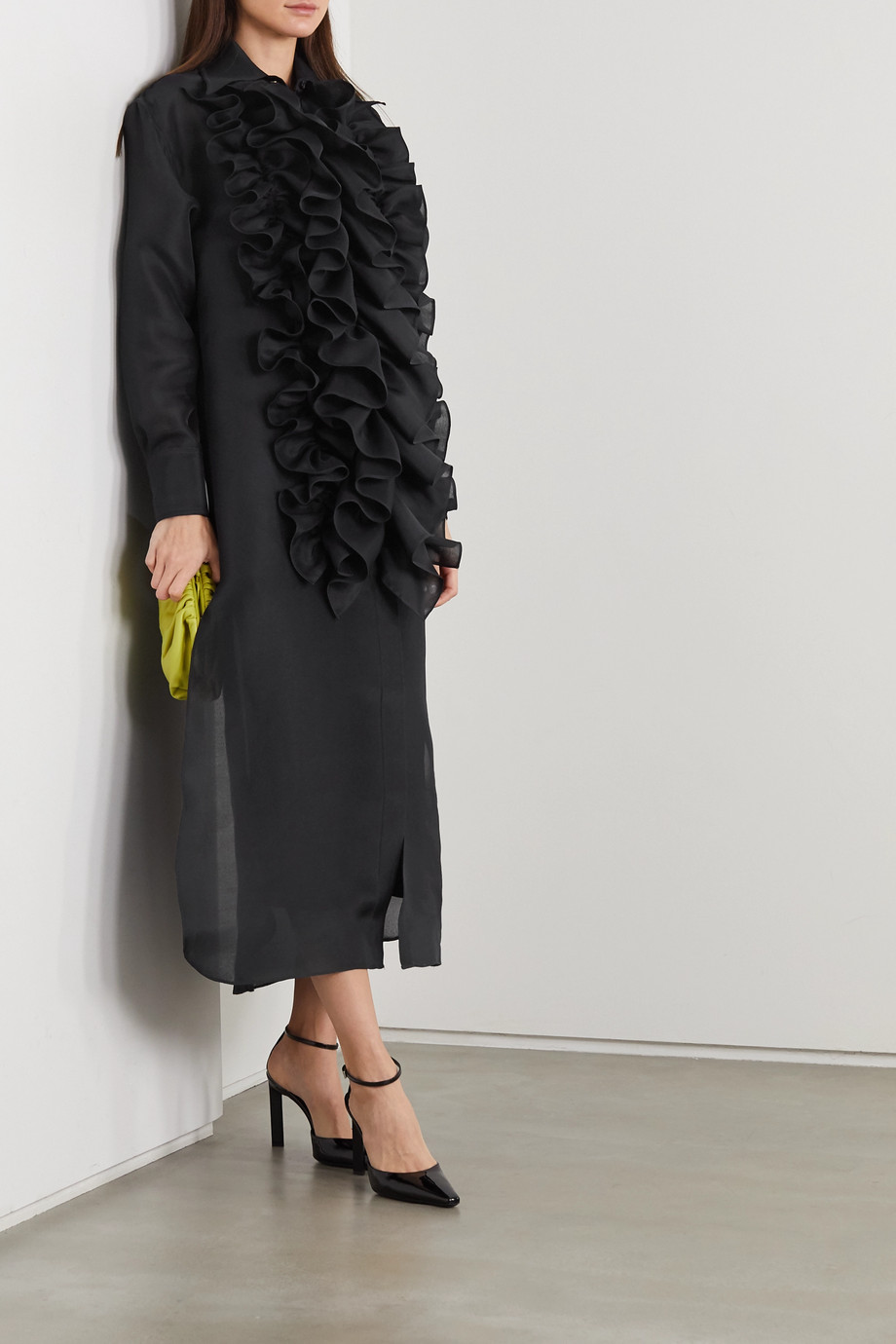 Christopher John Rogers Ruffled silk-organza midi shirt dress