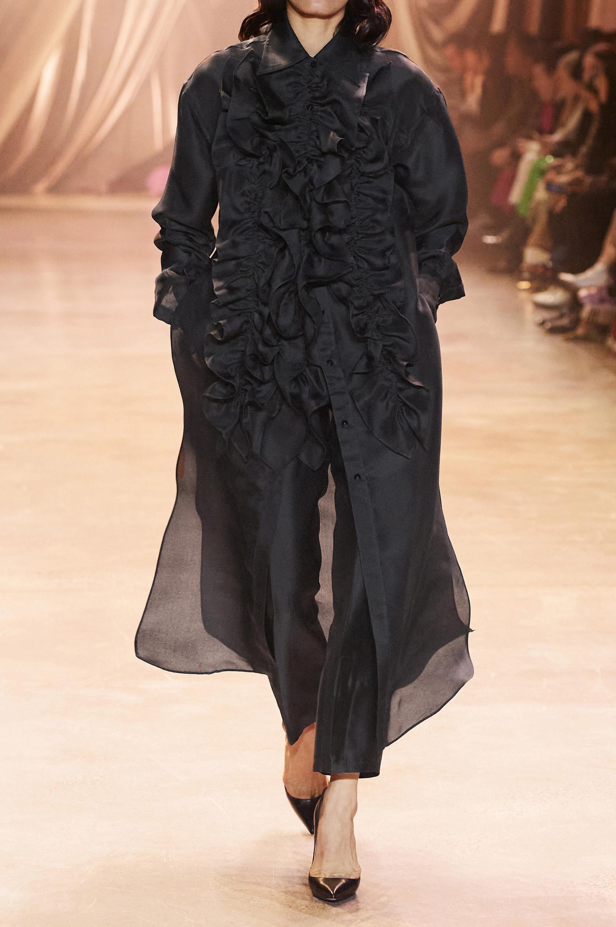 Christopher John Rogers Ruffled silk-organza midi shirt dress