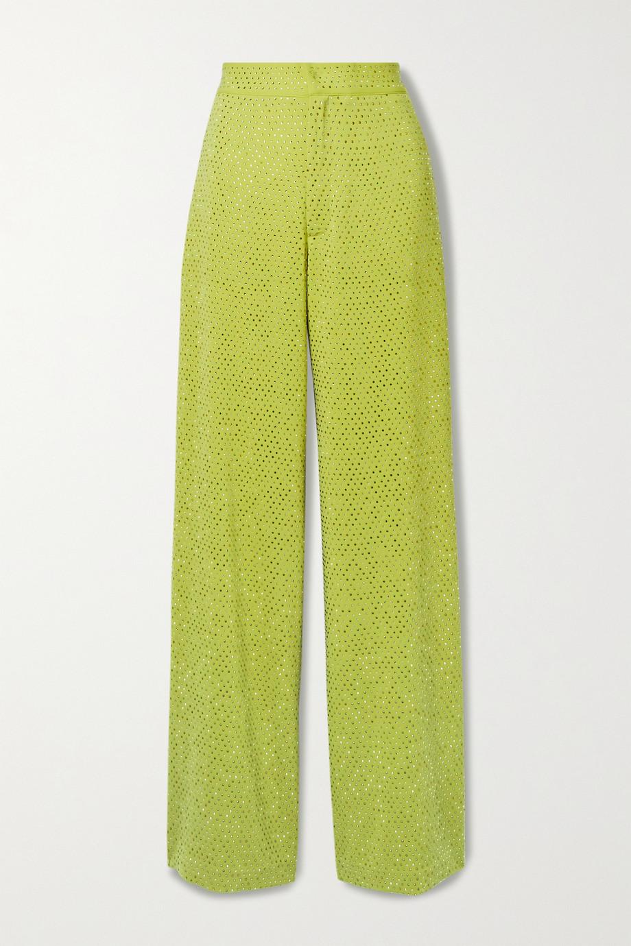 Christopher John Rogers Crystal-embellished crepe wide-leg pants