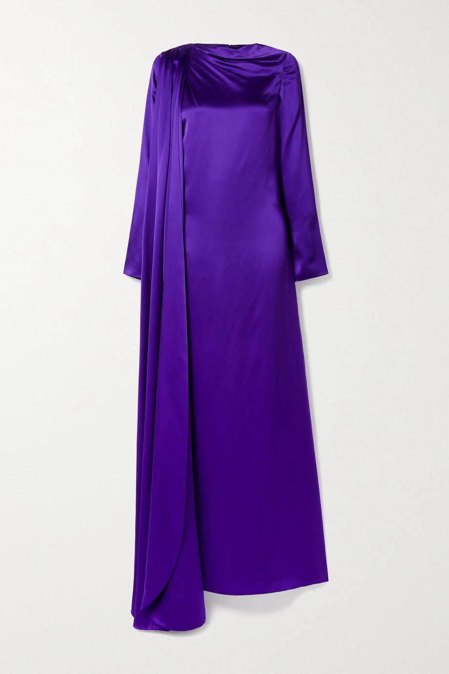 Christopher John Rogers Open-back draped silk-charmeuse gown