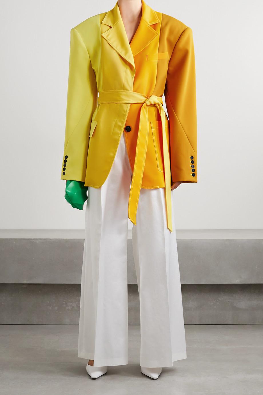 Christopher John Rogers 大廓形配腰带拼色绉纱西装外套