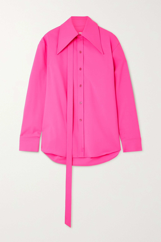 Christopher John Rogers Tie-detailed neon wool-blend shirt