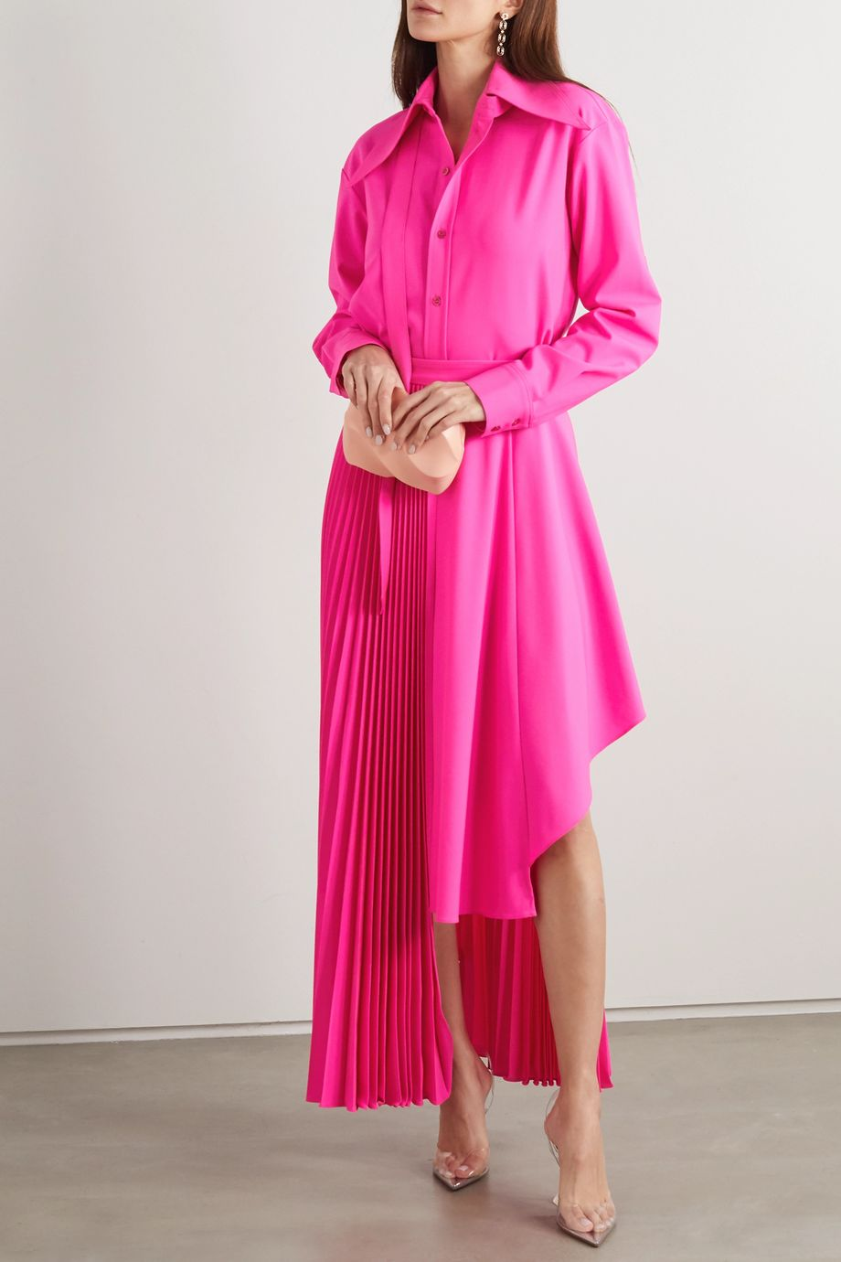 Christopher John Rogers Asymmetric pleated neon wool-blend midi skirt