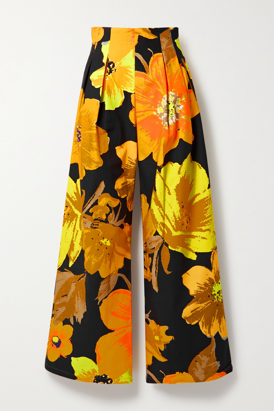 Christopher John Rogers Pleated floral-print cotton-twill wide-leg pants