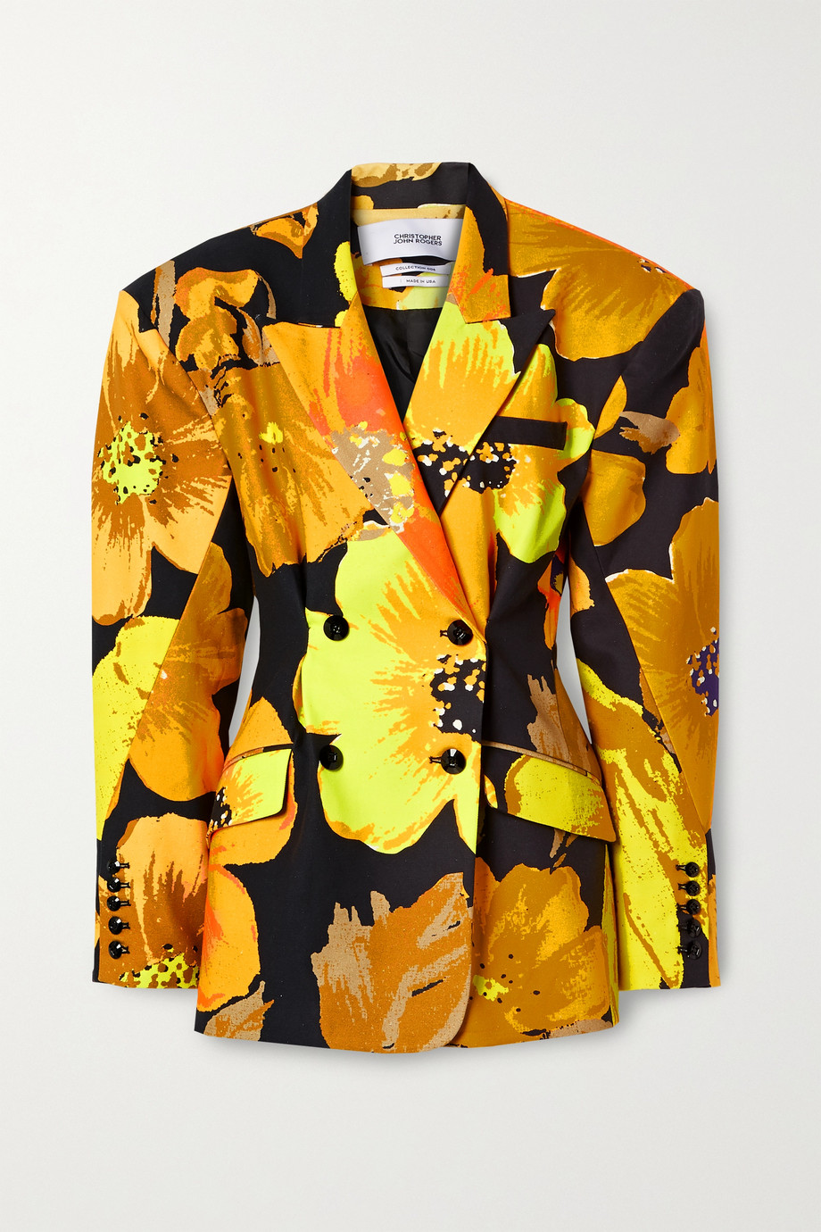 Christopher John Rogers Oversized double-breasted floral-print cotton-twill blazer