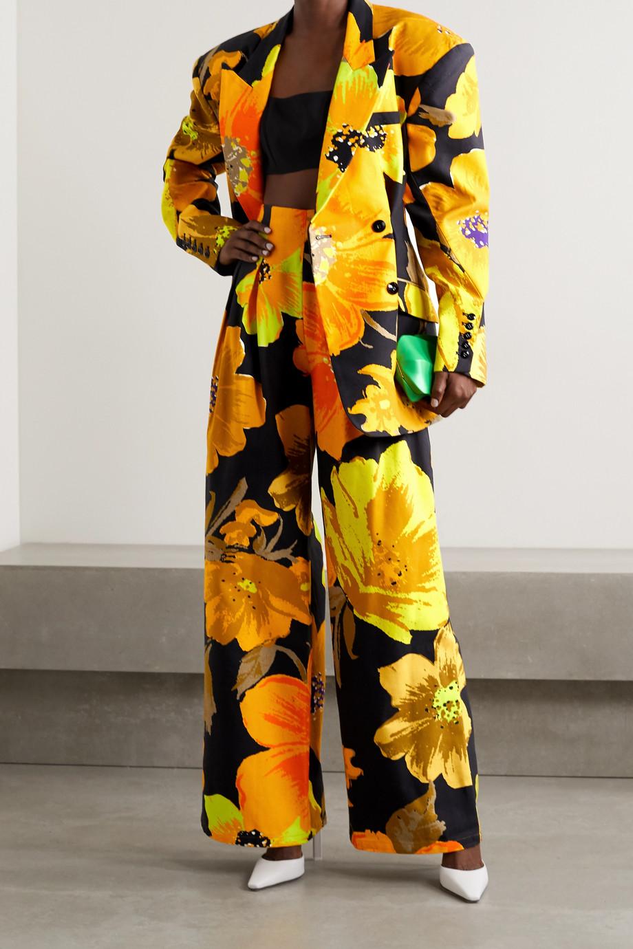 Christopher John Rogers Doppelreihiger Oversized-Blazer aus Baumwoll-Twill mit Blumenprint